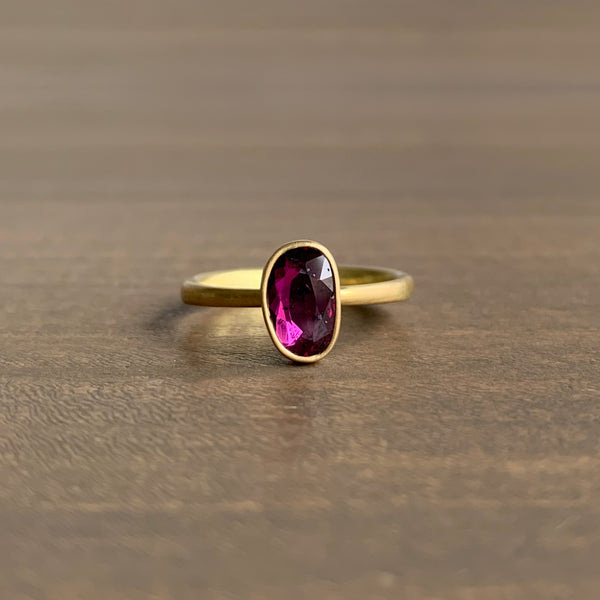 Lola Brooks Carbon Speckled Natural Ruby Sequin Ring