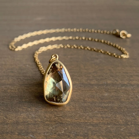 Lola Brooks Natural Peachy Sapphire Drop Pendant