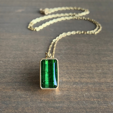Lola Brooks Green Tourmaline Rectangle Drop Pendant