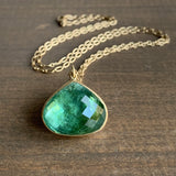Lola Brooks Green/Blue Fat Tourmaline Drop Pendant