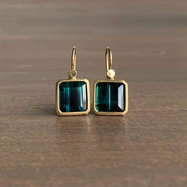Lola Brooks Blue & Green Square Tourmaline Earrings
