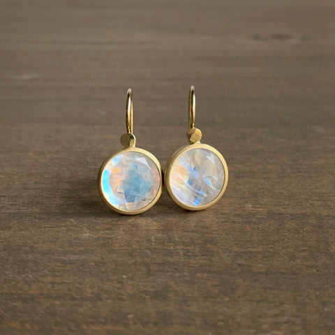 Lola Brooks Round Rainbow Moonstone Earrings