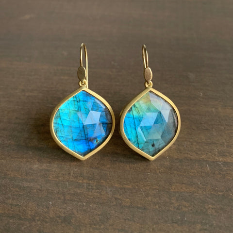 Lola Brooks Labradorite Navette Drop Earrings