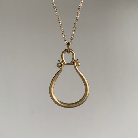 Monika Krol Medium Gold Lyre Necklace