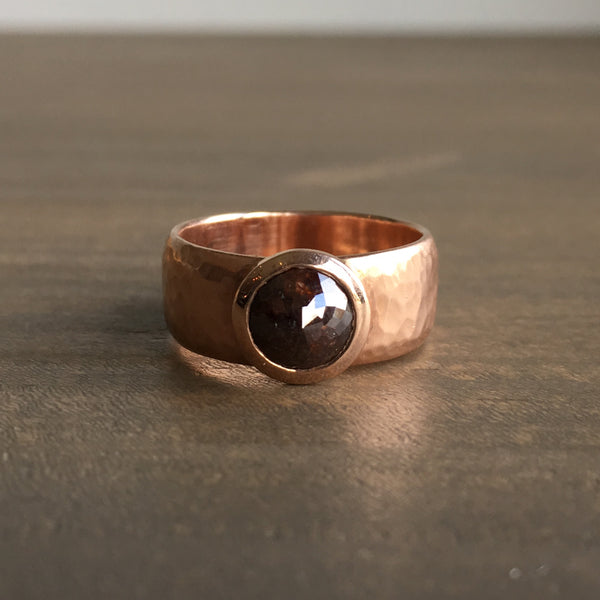 Shelley Cavanaugh Wide Rose Gold Band with Diamond