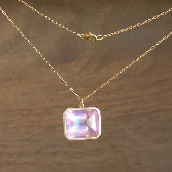 Lola Brooks Emerald Cut Rose Quartz Pendant