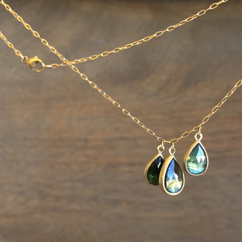 Lola Brooks Triple Green Tourmaline Drop Pendant