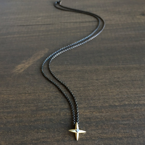 Mimi Favre Gold Star Cross Pendant with Diamond