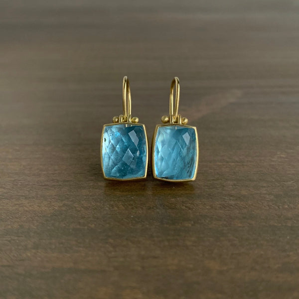Monika Krol Checker Cut Brazilian Aquamarine Earrings