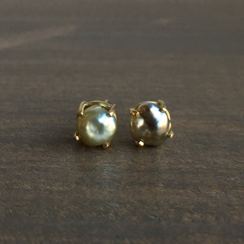 Mimi Favre Silver Keshi Pearl Stud Earrings
