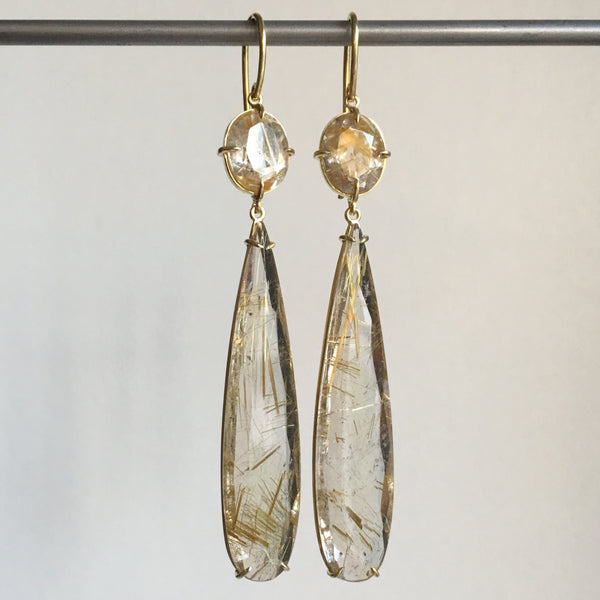 Mimi Favre Long Rutilated Quartz Drop Earrings