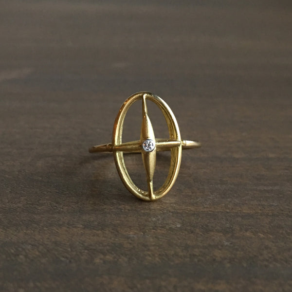 Mimi Favre Gold Star Cross Ring with Diamond