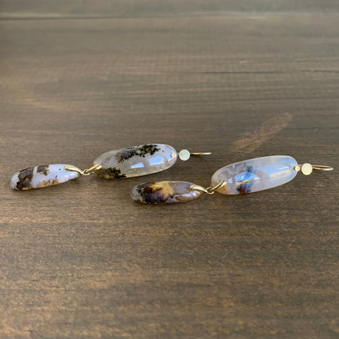 Shane Yamane Landscape Plume Agate Kiku Drop Earrings