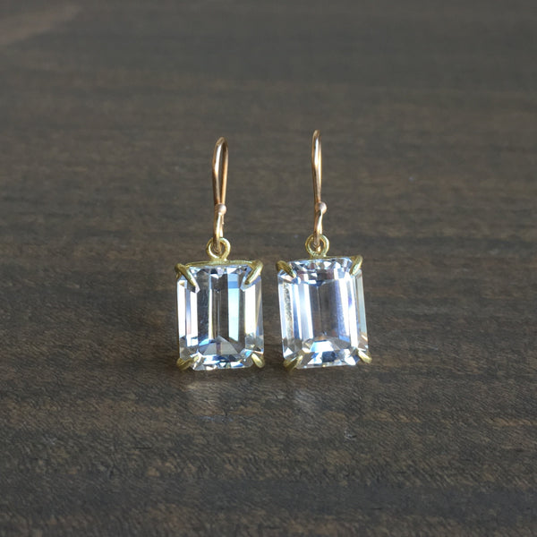 Rosanne Pugliese Small Emerald Cut White Topaz Earrings