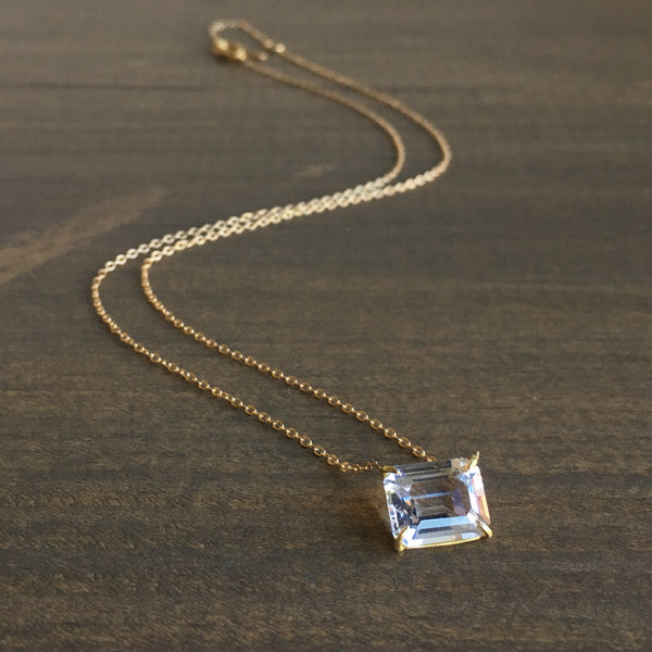 Rosanne Pugliese Emerald Cut White Topaz Necklace