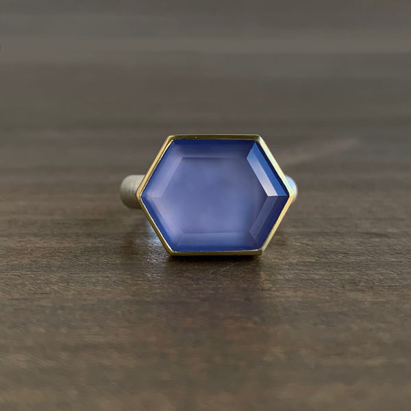 Heather Guidero Large Tablet Elongated Hexagon Chalcedony Ring