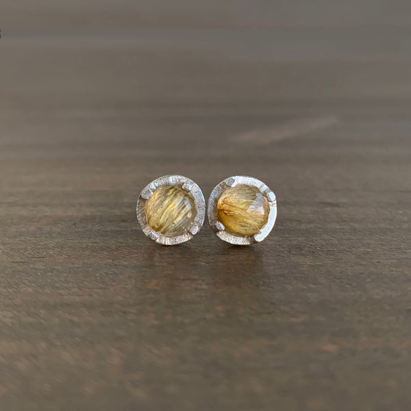 Heather Guidero Carved Prong Set Rutilated Quartz Studs