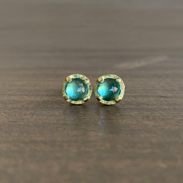 Heather Guidero Carved Prong Set Blue Topaz Studs