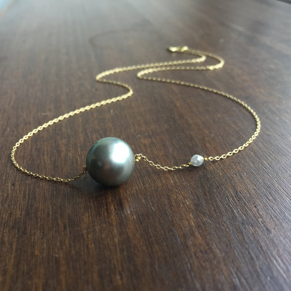 Rosanne Pugliese Pearl and Diamond Pendant Necklace