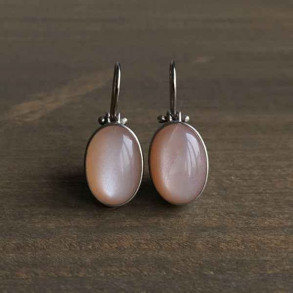 Monika Krol Oval Peach Moonstone Earrings