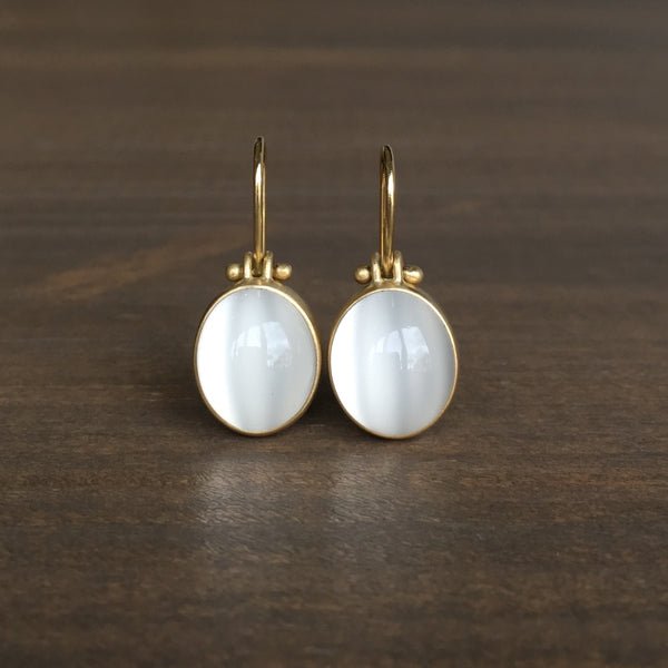 Monika Krol Cat's Eye White Moonstone Earrings