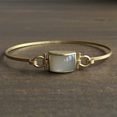 Monika Krol Rectangle White Moonstone Bracelet