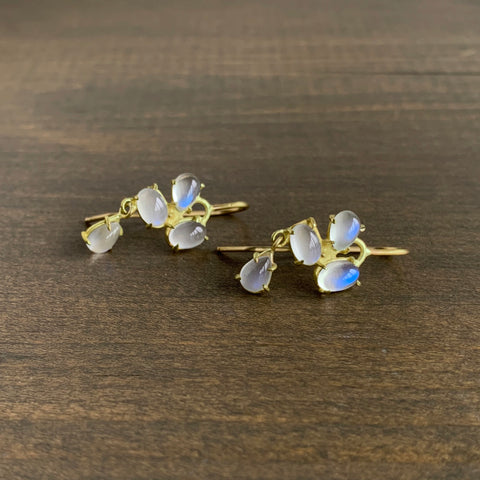 Rosanne Pugliese Moonstone Mini Florette Double Drop Earrings