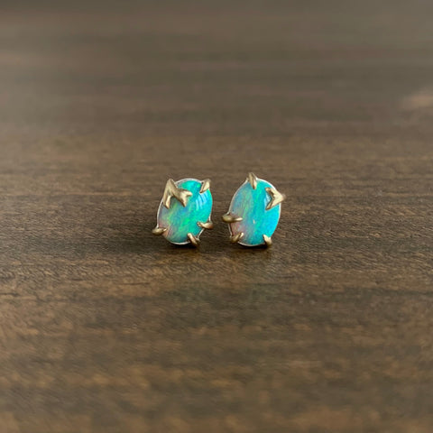 Hannah Blount Aqua Opal Branch Waiting Stud Earrings