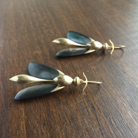 Gabriella Kiss Articulated Wasps with Mother of Pearl Earrings