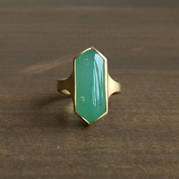 Monika Krol Hexagon Chrysoprase Cast Ring