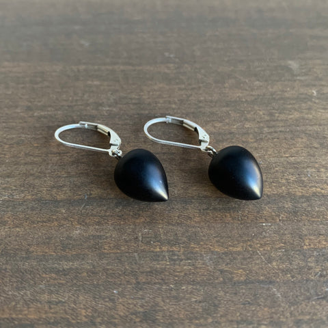 Judi Powers Onyx Matte Drops in Sterling Silver