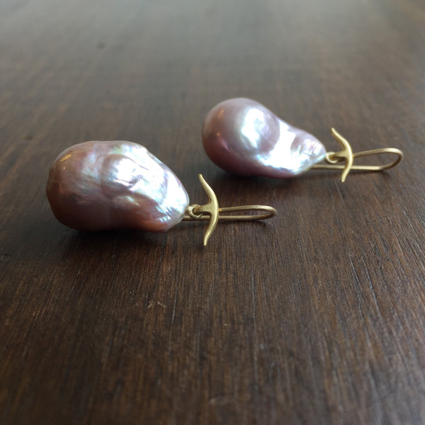 Gabriella Kiss Pink Baroque Pearl Earrings
