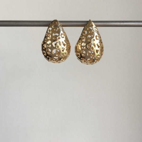 Rachel Atherley Small Gold Leopard Basket Hoops