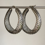 Rachel Atherley Large Oval Antiqued Silver Snakeskin Hoops