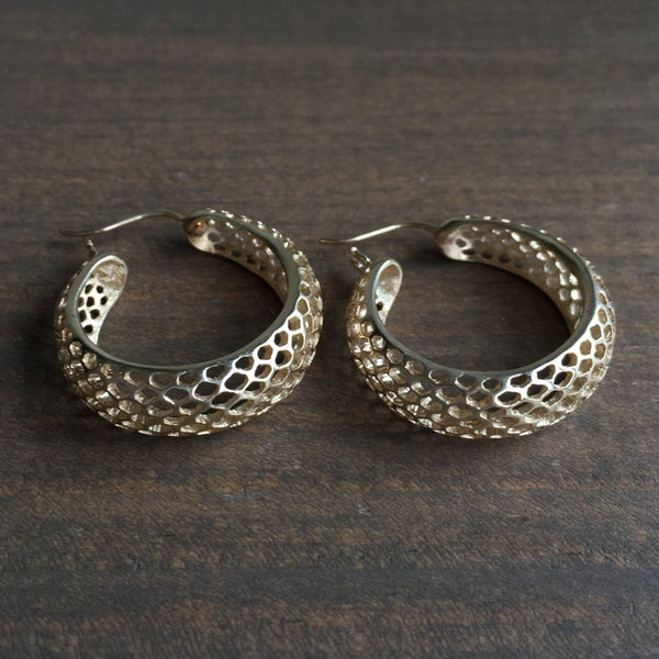 Rachel Atherley Small Round Gold Snakeskin Hoops