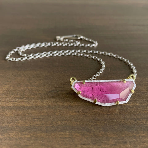 Heather Guidero Carved Prong Set Pink Tourmaline Necklace