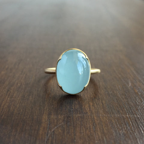Gabriella Kiss Oval Aquamarine Cabochon Ring