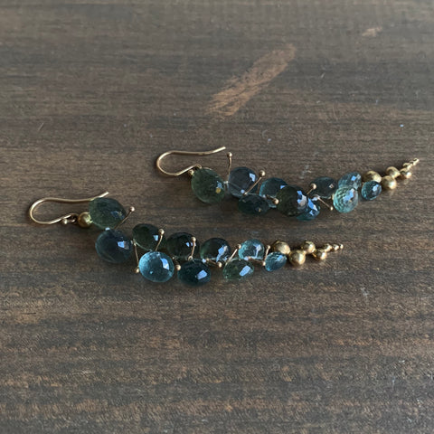 Rachel Atherley Large Moss Aquamarine Caviar Earrings