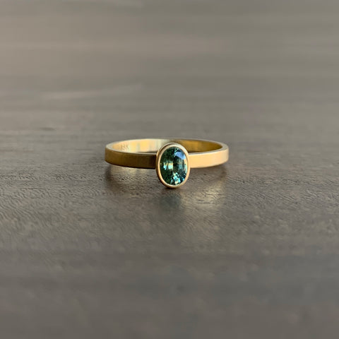 Monika Krol Natural Green Sapphire Oval Stacking Ring