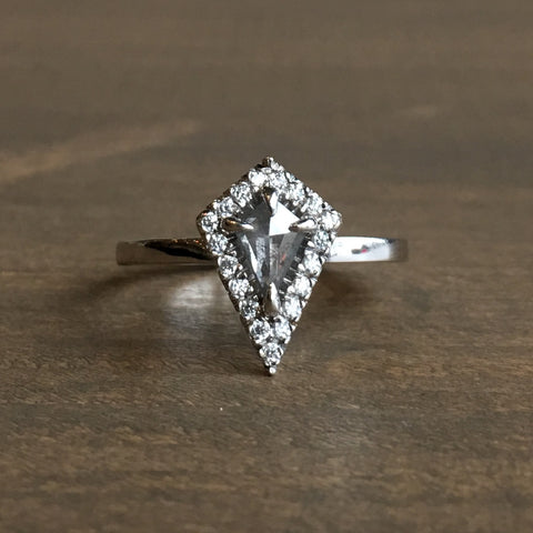 Point No Point Grey Kite Halo Diamond Engagement Ring