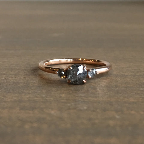Point No Point Black Speckled Triple Diamond Engagement Ring