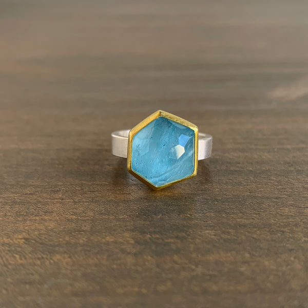 Sam Woehrmann Aquamarine Hexagon Ring