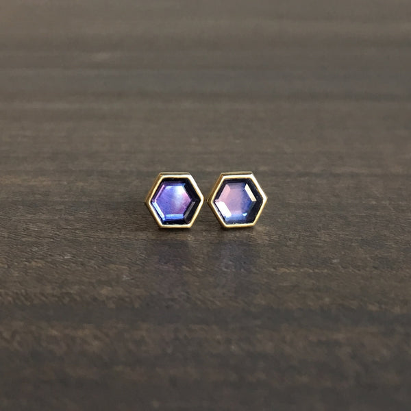 Lola Brooks Hexy Natural Purple Sapphire Sequin Studs