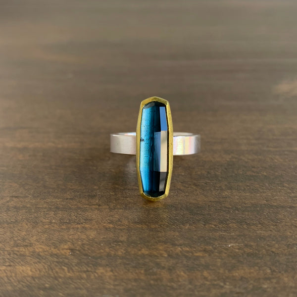 Sam Woehrmann Blue Tourmaline Long Cushion Ring