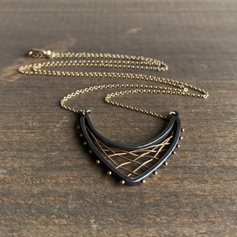 Aliyah Gold Woven Arc Pendant Necklace