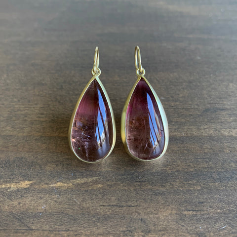 Monica Marcella Peachy / Raspberry Tourmaline Long Pear Earrings