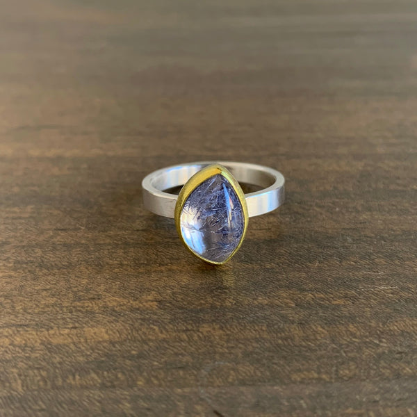 Sam Woehrmann Quartz with Dumortierite Leaf Ring