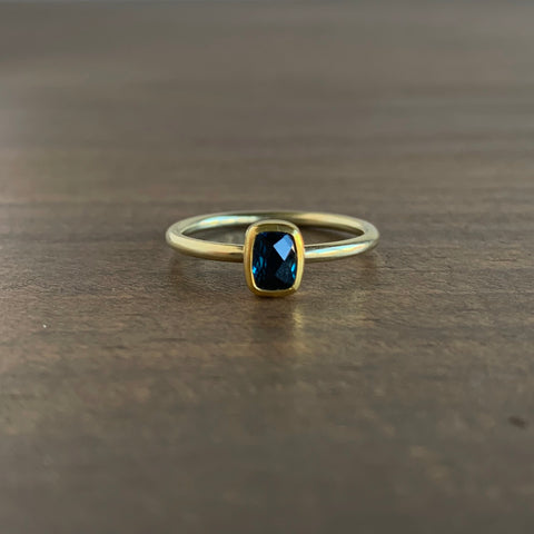 Sam Woehrmann Blue Tourmaline Cushion Ring