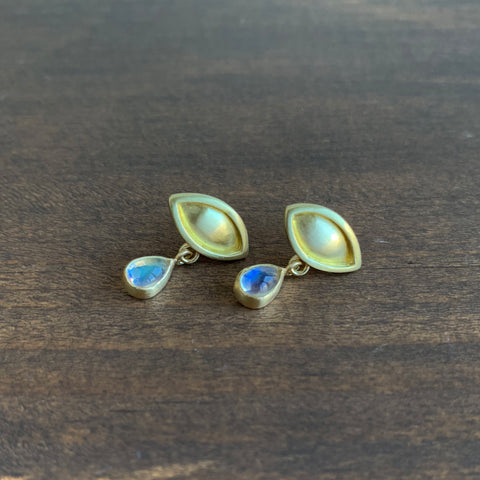 Monica Marcella Ojo Earrings with Moonstone Tears