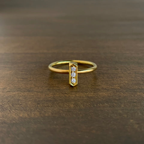 Sam Woehrmann Diamond Faceted Bar Ring